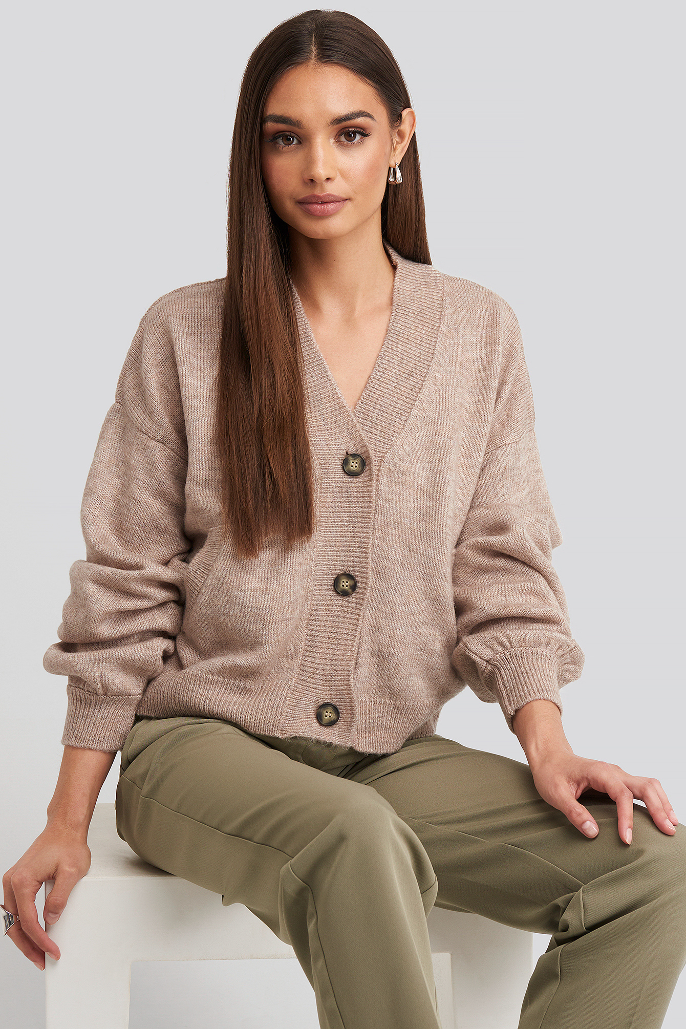 NA-KD Short Button Cardigan - Dusty Pink